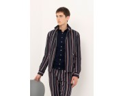 best price navy blue zipped jacket with stripes last chance limited sale
