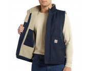limited sale carhartt 101029 - flame-resistant canvas mock-neck vest  sherpa lined dark navy best price last chance