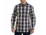 best price carhartt 103899 - essential plaid long sleeve shirt navy limited sale last chance