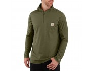 best price carhartt 104255 - force relaxed fit quarter zip pocket t-shirt moss heather limited sale last chance