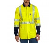 best price carhartt 102843 - flame resistant high-visibility force hybrid shirt bright lime last chance limited sale