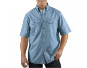 limited sale carhartt s200 - short sleeve chambray shirt blue last chance best price