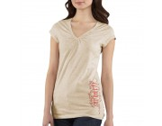last chance carhartt wk085 - women's cap-sleeve old english v-neck t-shirt oatmeal heather best price limited sale