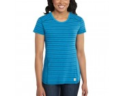 last chance carhartt 102066 - women's force® performance striped t-shirt island blue heather limited sale best price