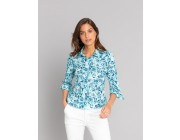 best price turquoise siloe shirt with roses print limited sale last chance