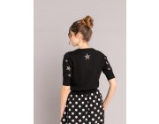 best price black cometes cardigan with embroidered beads last chance limited sale