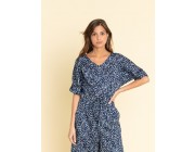 limited sale navy blue graphic polka dot jumpsuit last chance best price