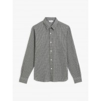 best price navy blue and khaki checked cotton crepe syd shirt last chance limited sale