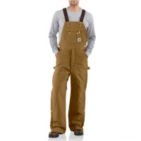 last chance carhartt r41 - duck zip-to-thigh bib overall quilt lined brown best price limited sale