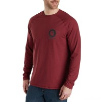 best price carhartt 103306 - force delmont long sleeve graphic t-shirt red brown heather last chance limited sale
