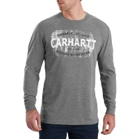 best price carhartt 103357 - maddock rugged workwear logo graphic long sleeve t-shirt granite heather last chance limited sale