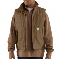 best price carhartt 101494 - jefferson quick duck® vest quilt lined canyon brown limited sale last chance