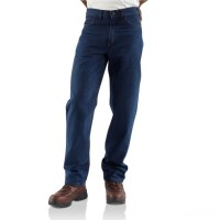 last chance carhartt frb100 - flame-resistant straight leg relaxed fit jean denim limited sale best price