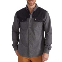 best price carhartt 102876 - burleson heather long sleeve shirt charcoal limited sale last chance
