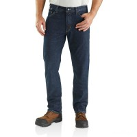 best price carhartt 102683 - flame-resistant relaxed fit rugged flex® jean deep indigo wash limited sale last chance