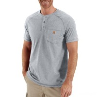 last chance carhartt 100413 - force® short sleeve henley t-shirt heather gray best price limited sale