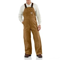 best price carhartt 101626 - flame-resistant duck bib overall quilt lined brown limited sale last chance