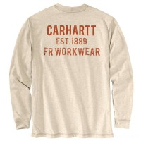 best price carhartt 104372 - flame-resistant force long sleeve t-shirt light khaki heather last chance limited sale