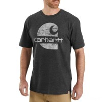 best price carhartt 104387 - heavyweight logo graphic t-shirt carbon heather limited sale last chance