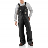 last chance carhartt r38 - duck zip-to-waist bib overall quilt lined black best price limited sale