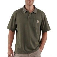 best price carhartt k570 - contractor's short sleeve pocket work polo shirt moss last chance limited sale