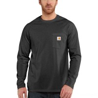 best price carhartt 100393 - force® long sleeve pocket t-shirt carbon heather last chance limited sale