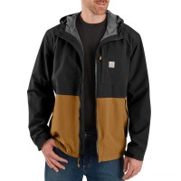 best price carhartt 104039 - storm defender® midweight hooded jacket black/carhartt brown last chance limited sale