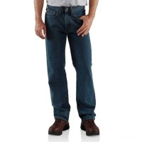 best price carhartt b460 - straight leg relaxed fit jean dark vintage blue limited sale last chance