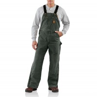 last chance carhartt r27 - sandstone duck bib overall quilt lined moss best price limited sale