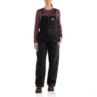 best price carhartt 102743 - women's weathered duck wildwood bib overalls quilt lined black last chance limited sale