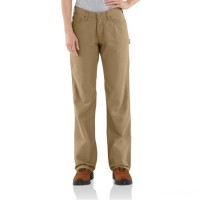 best price carhartt wfrb159 - women's flame resistant relaxed fit canvas jean golden khaki limited sale last chance