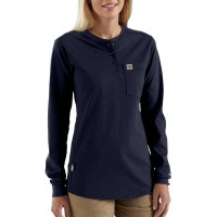 best price carhartt 102686 - women's flame resistant force cotton long sleeve henley dark navy last chance limited sale