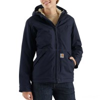 last chance carhartt 102694 - women's flame resistant full swing® quick duck® jacket sherpa lined dark navy best price limited sale