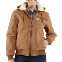 best price carhartt 100815 - women's weathered duck jacket sherpa lined brown limited sale last chance
