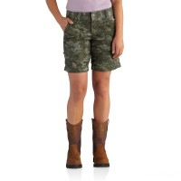 last chance carhartt 102532 - women's relaxed fit el paso printed short olive limited sale best price