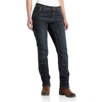 limited sale carhartt 100654 - women's double front slim fit dungaree timeworn indigo best price last chance