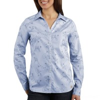 best price carhartt ws014 - women's embroidered woven shirt light periwinkle last chance limited sale