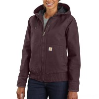 best price carhartt 104053 - women's wj130 washed duck active jac deep wine limited sale last chance