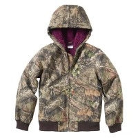 best price carhartt cp9552 - camo active jacket flannel quilt lined girls mossy oak last chance limited sale