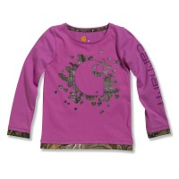 """limited sale carhartt ca9282 - realtree® """"c"""" long sleeve t-shirt girls light pink last chance best price"""