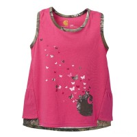 last chance carhartt ca9397 - double ruffle tank girls pink limited sale best price