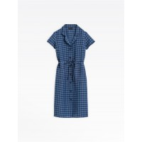 best price blue checked linen shirt dress last chance limited sale