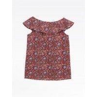 last chance red oma top with floral print limited sale best price