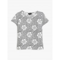 last chance black and white patterned linen soline top best price limited sale