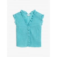 best price turquoise gingham cotton crepe mohea shirt last chance limited sale