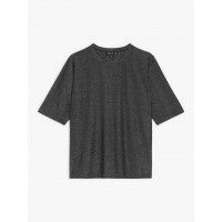 best price black elbow-length sleeves brando t-shirt in shiny jersey last chance limited sale