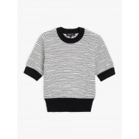 last chance black and white sandy sweater with fancy stripes best price limited sale