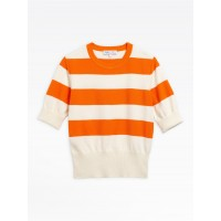 last chance orange and off-white striped betty sweater best price limited sale