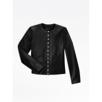 best price black leather snap cardigan limited sale last chance