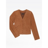best price brown suede leather v snap cardigan limited sale last chance